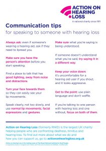 Communication tips for speaking to someone with hearing loss