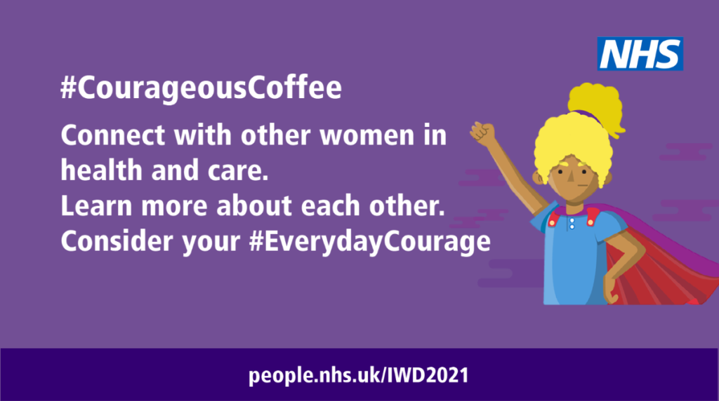 CouragesCoffee logo, white text on a purple background