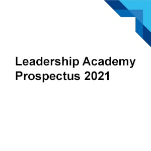 Prospectus logo Text reads Leadership Academy Prospectus 2021